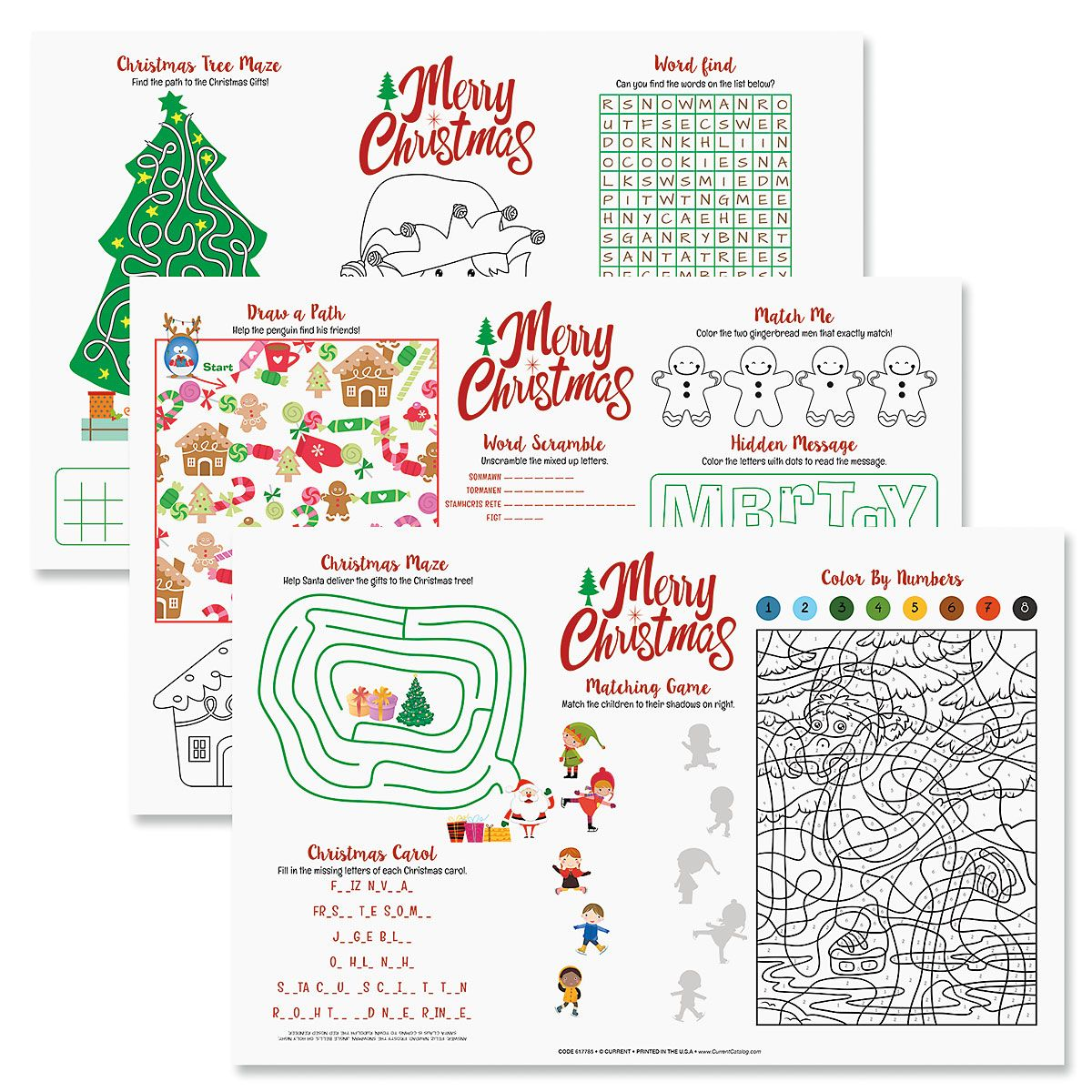 Christmas Activity Paper Place Mats