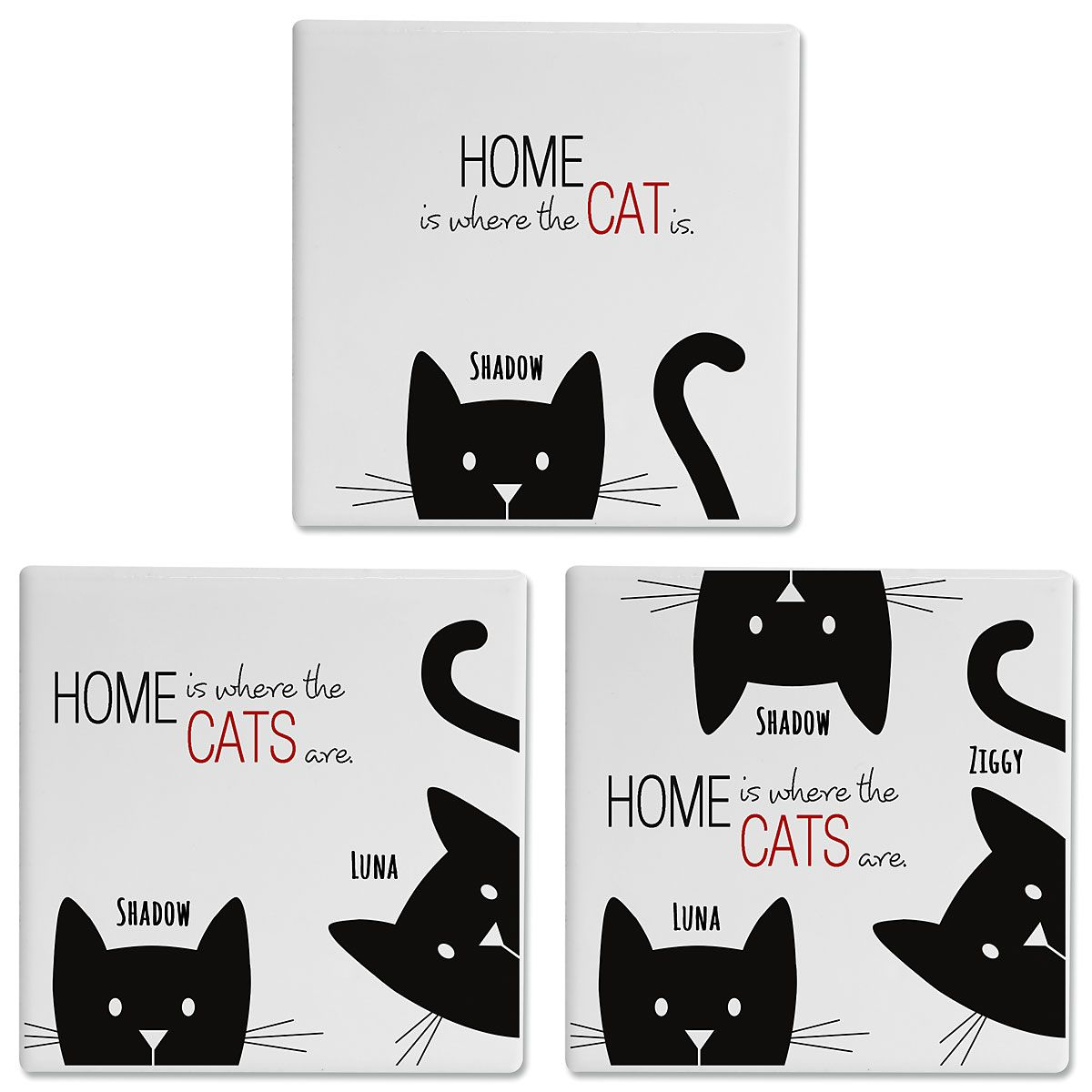 Cat Personalized Ceramic Coasters