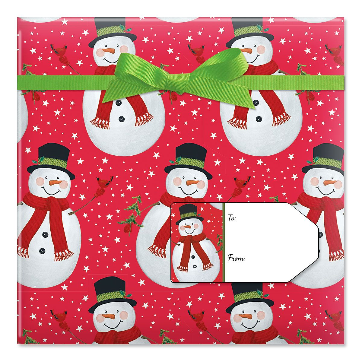 Trendy Kraft Snowman Jumbo Rolled Gift Wrap and Labels