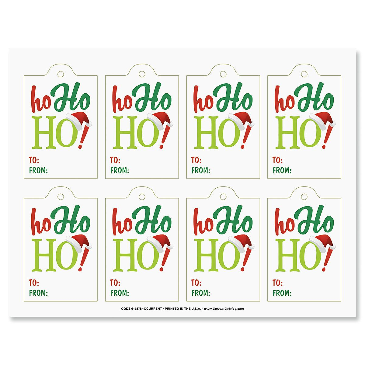 Ho Ho Ho Tags Create candy jar gifts with 8 tags; supply list, and instructions included.