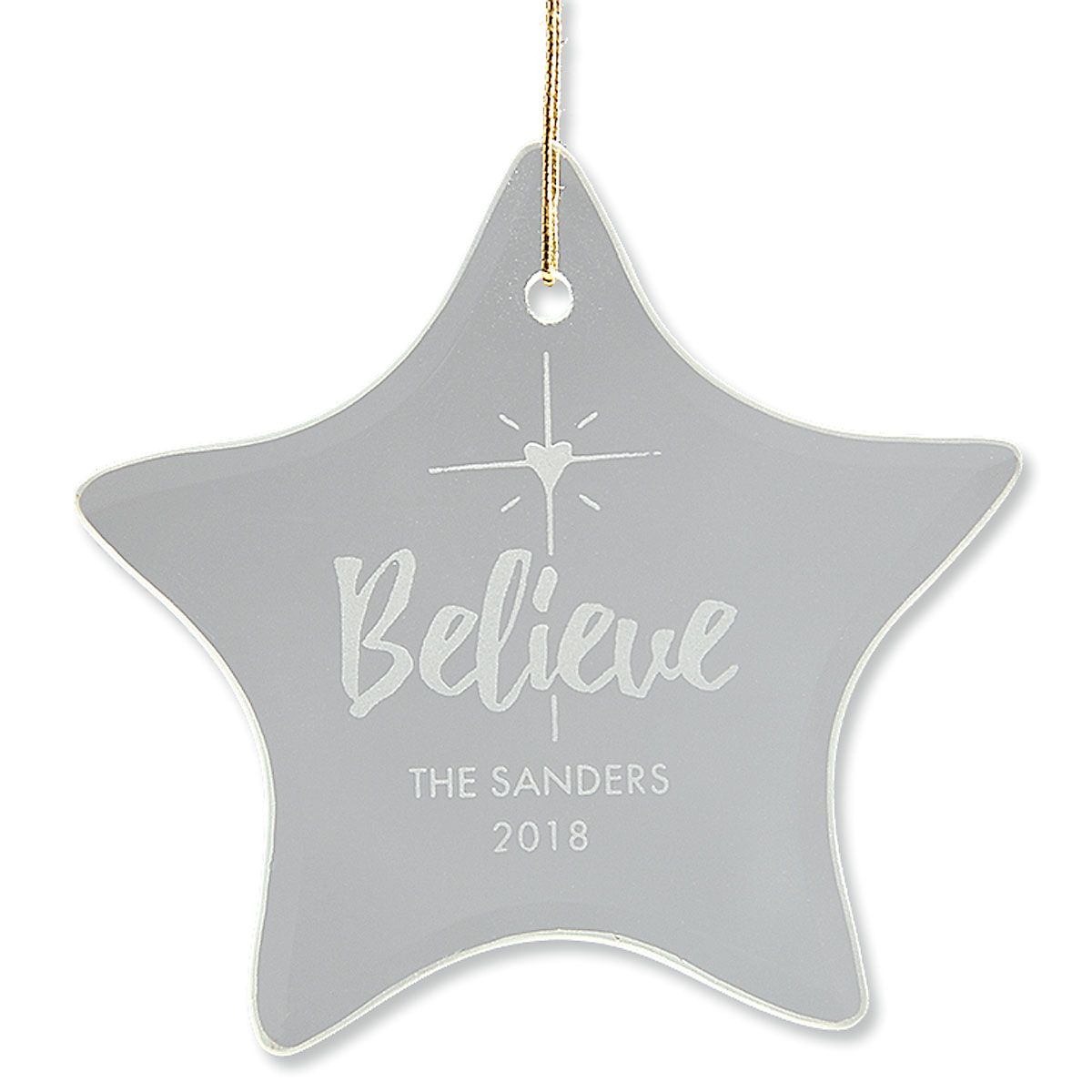 Personalized Believe Glass Ornament