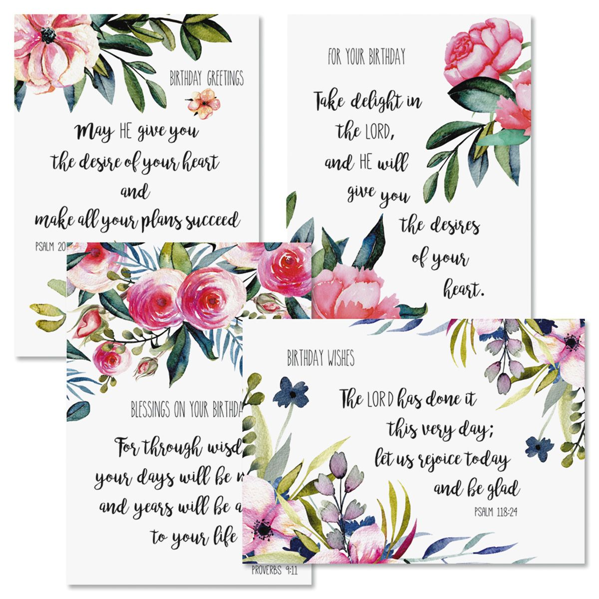 Simple Floral Birthday Greeting Cards and Seals