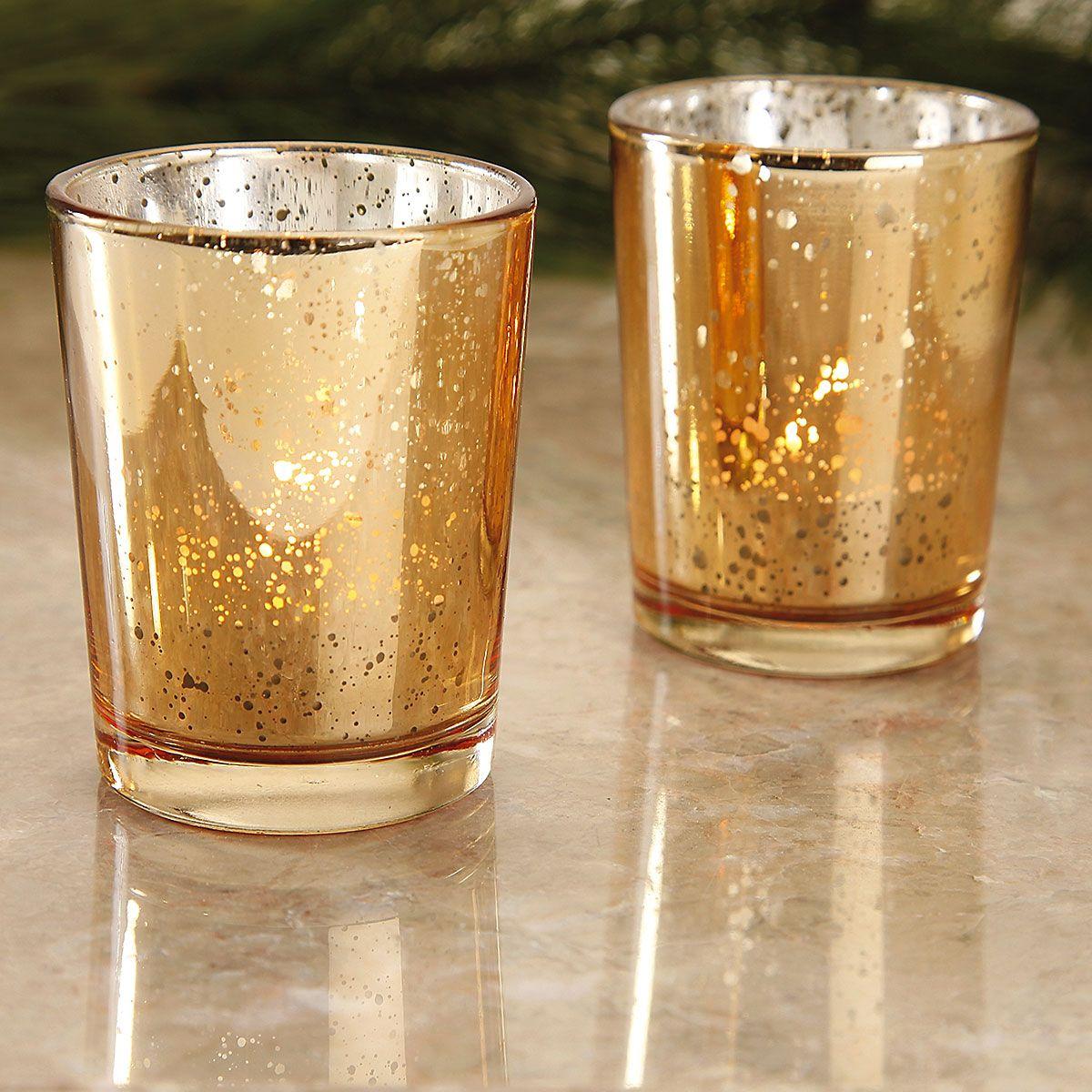 Gold Glass Tealight Holders