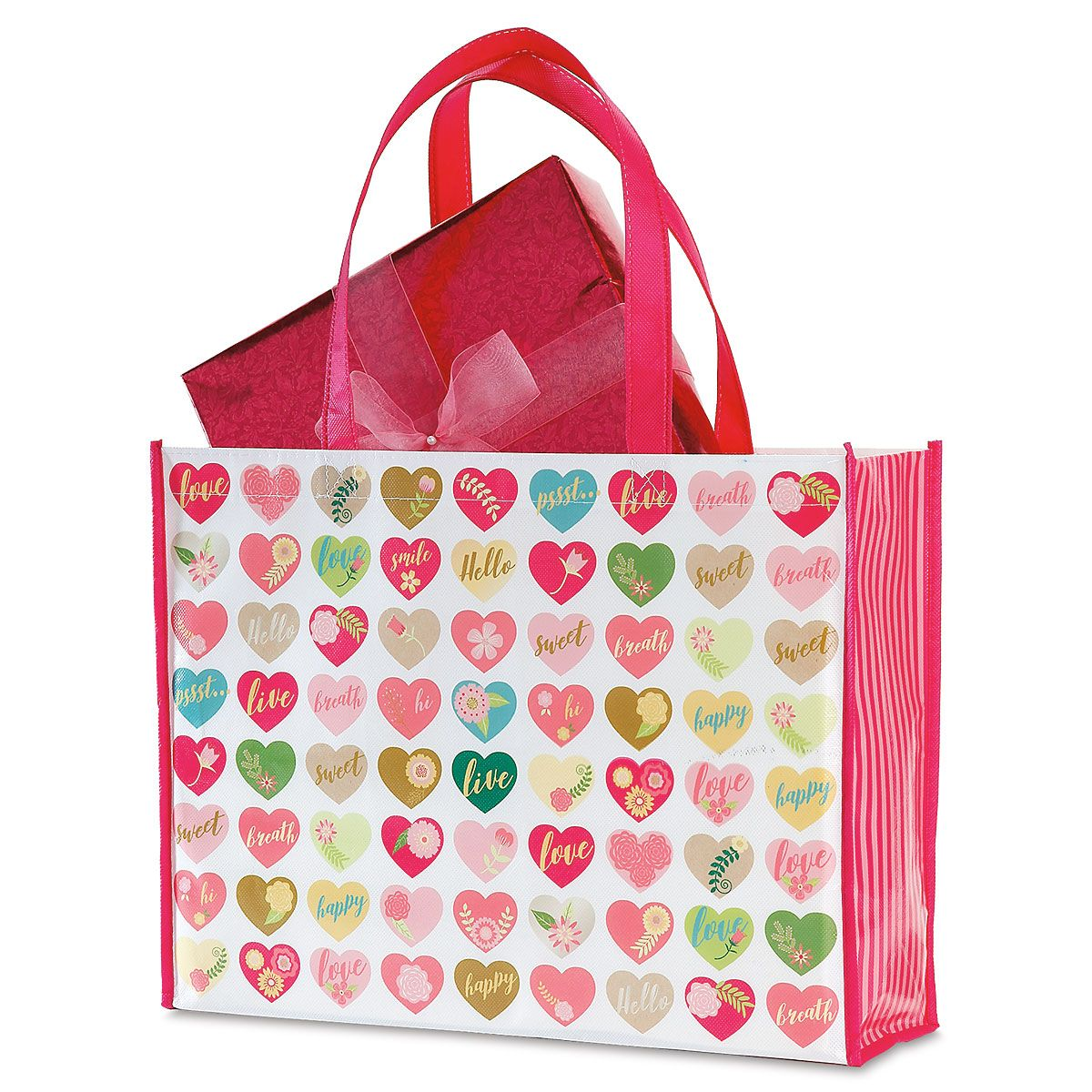 Valentine Shopping Bag - BOGO Get 2 shopping bags for the price of 1! Durable non-woven fabric tote is 16 L x 5 W x 13 H.