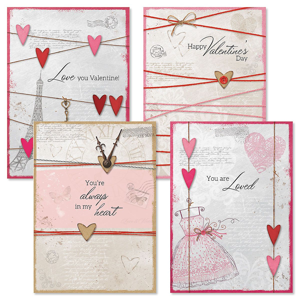 Collage Valentine Cards and Seals