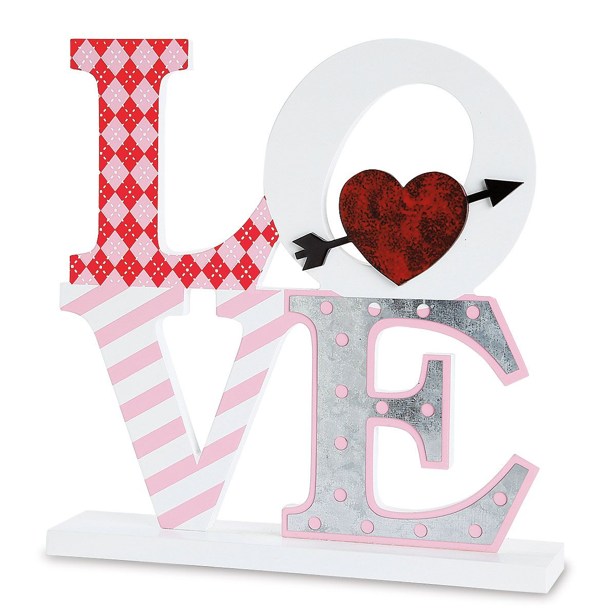 Love Metal and Wood Tabletop Sign