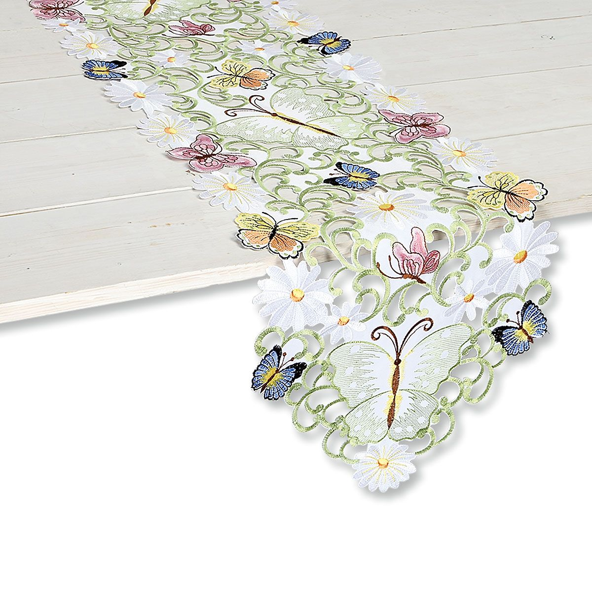 Butterfly Daisy Cutwork Table Runner
