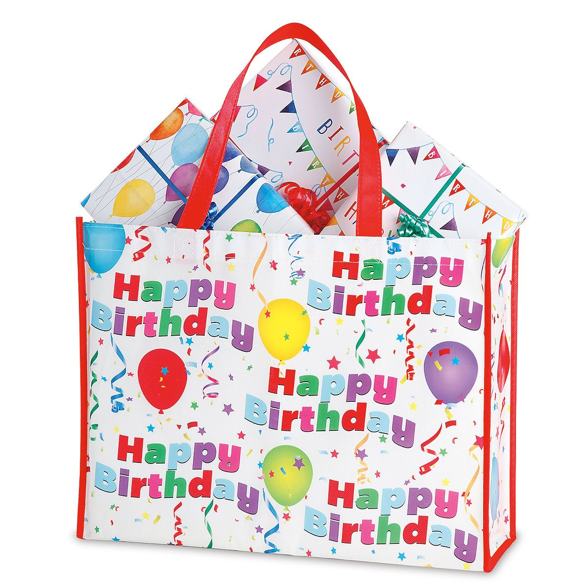Birthday Shopping Tote - BOGO Get 2 for the price of 1! Durable, non-woven birthday fabric tote is 13 H x 16 W x 5 D. Great for holiday shopping, they also make handy, reusable gift bags for large or oddly shaped gifts. Contents not included.