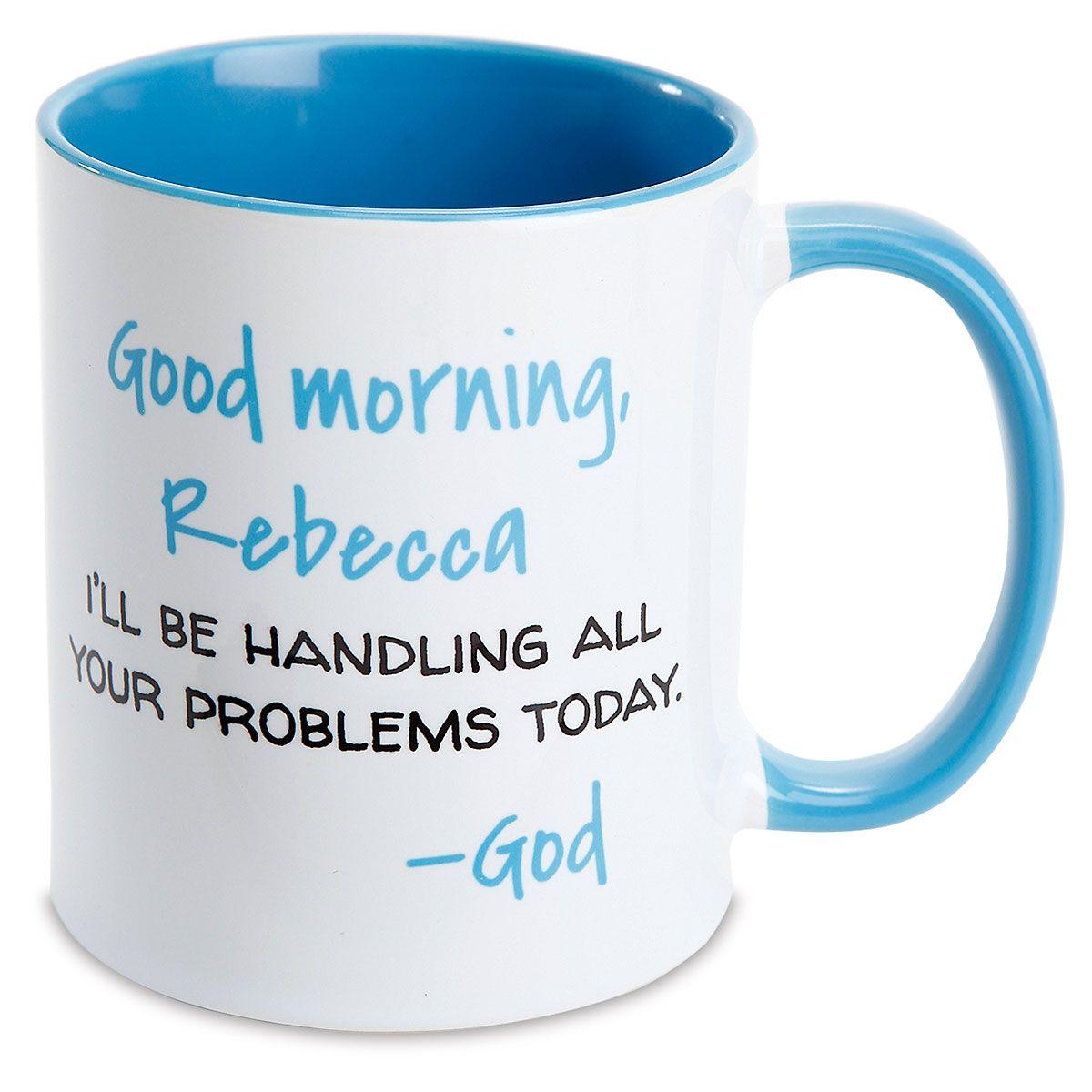 Good Morning Personalized Blue Mug