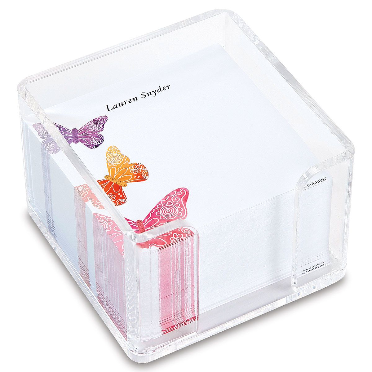 Butterfly Days Personalized Note Sheets in a Cube