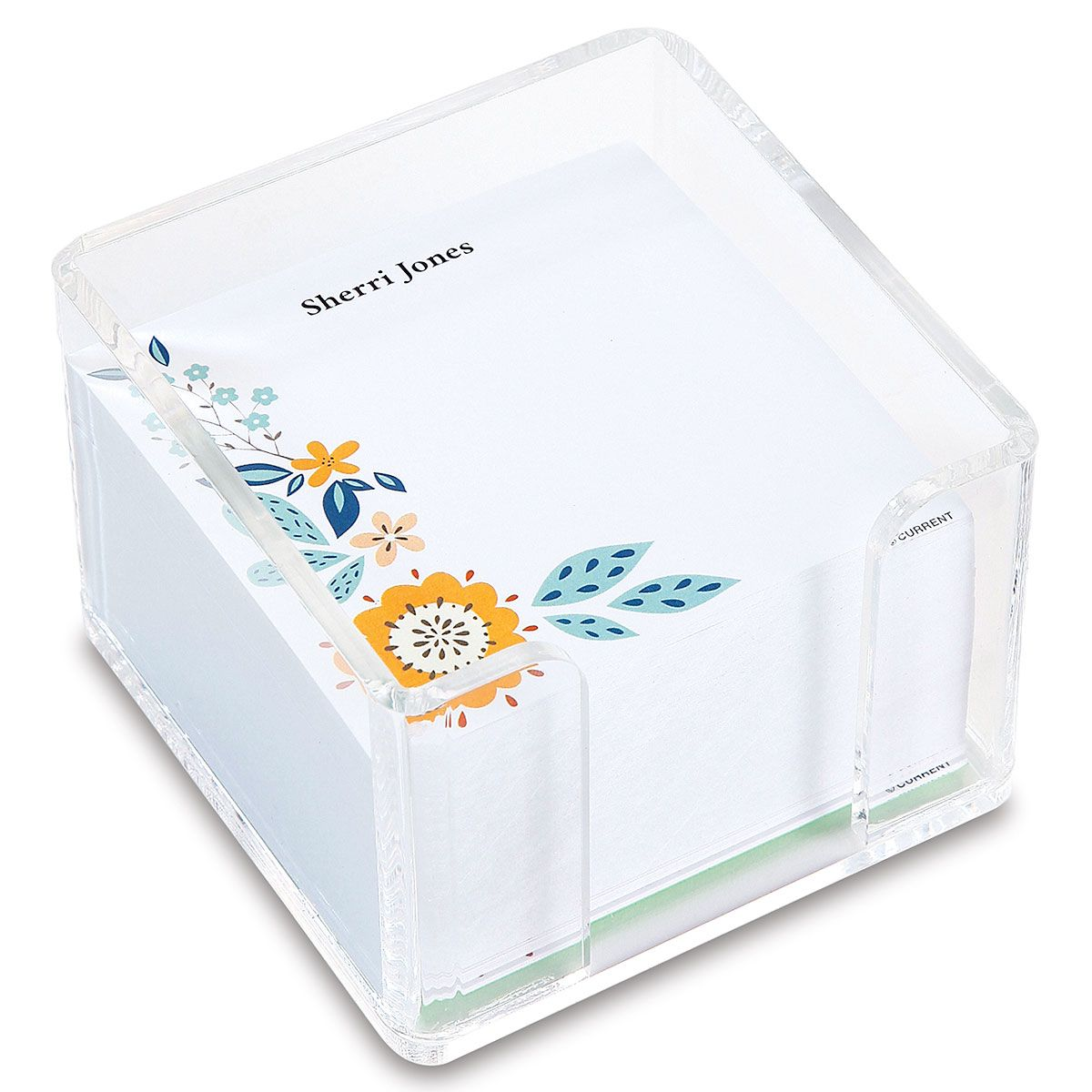 Scattered Flowers Personalized Notes in a Cube