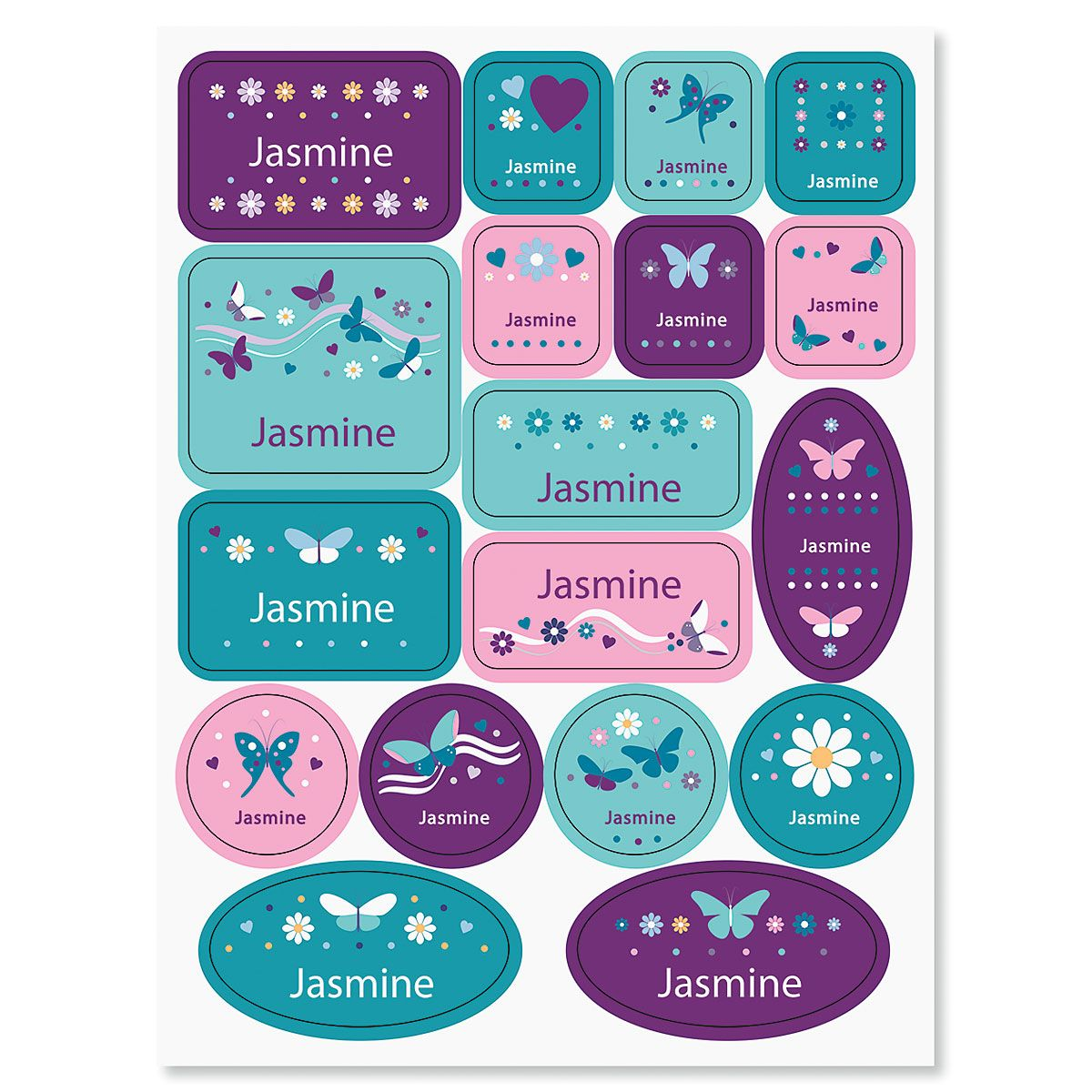 Butterflies and Flowers Personalized Stickers for Kids