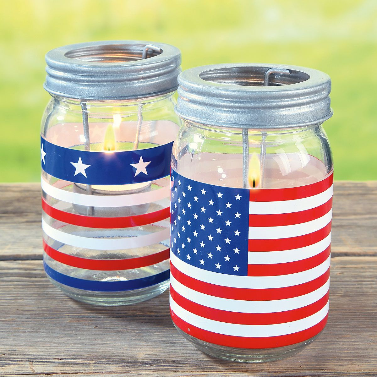 Patriotic Mason Jar Candle Holders