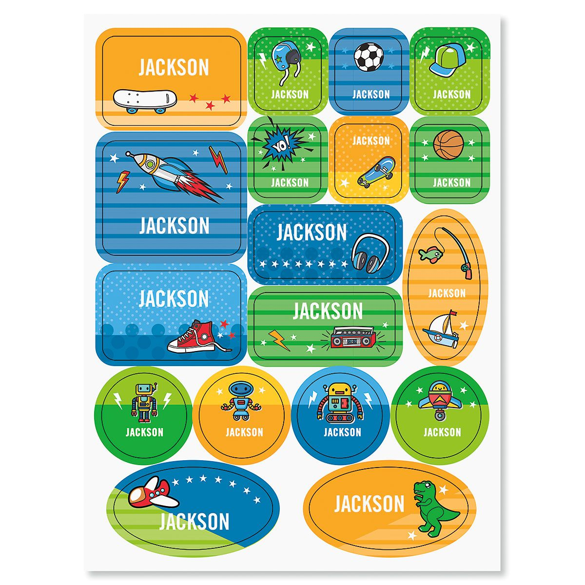 Personalized Sports, Space, & Dinos Stickers for Kids