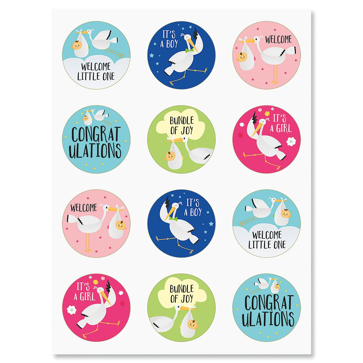 Baby Congrats Stork Stickers