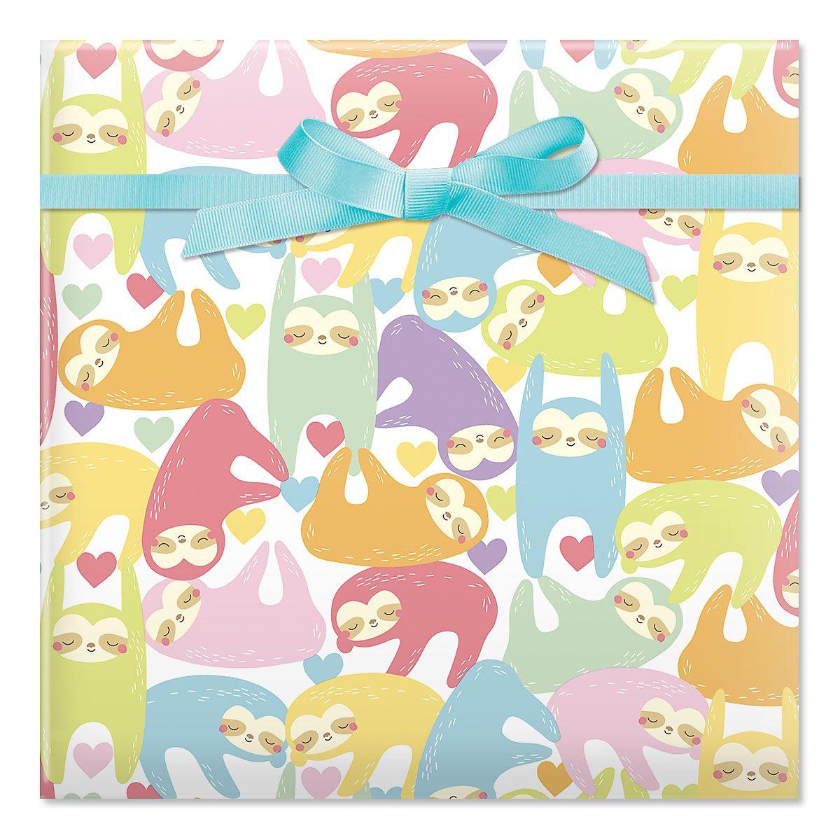 Sloth Jumbo Rolled Gift Wrap
