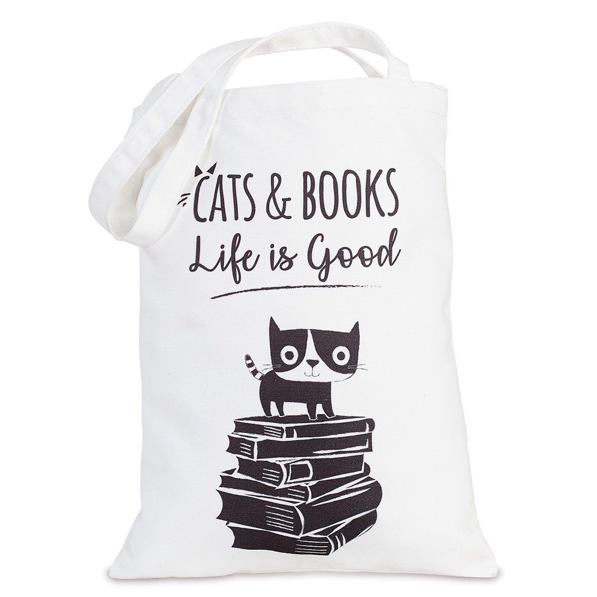 Cats & Books Canvas Tote