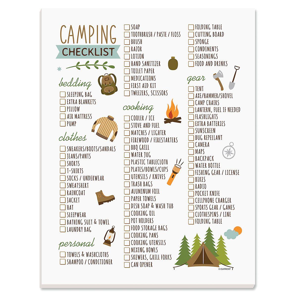 Camping Trip Packing Checklist Pad