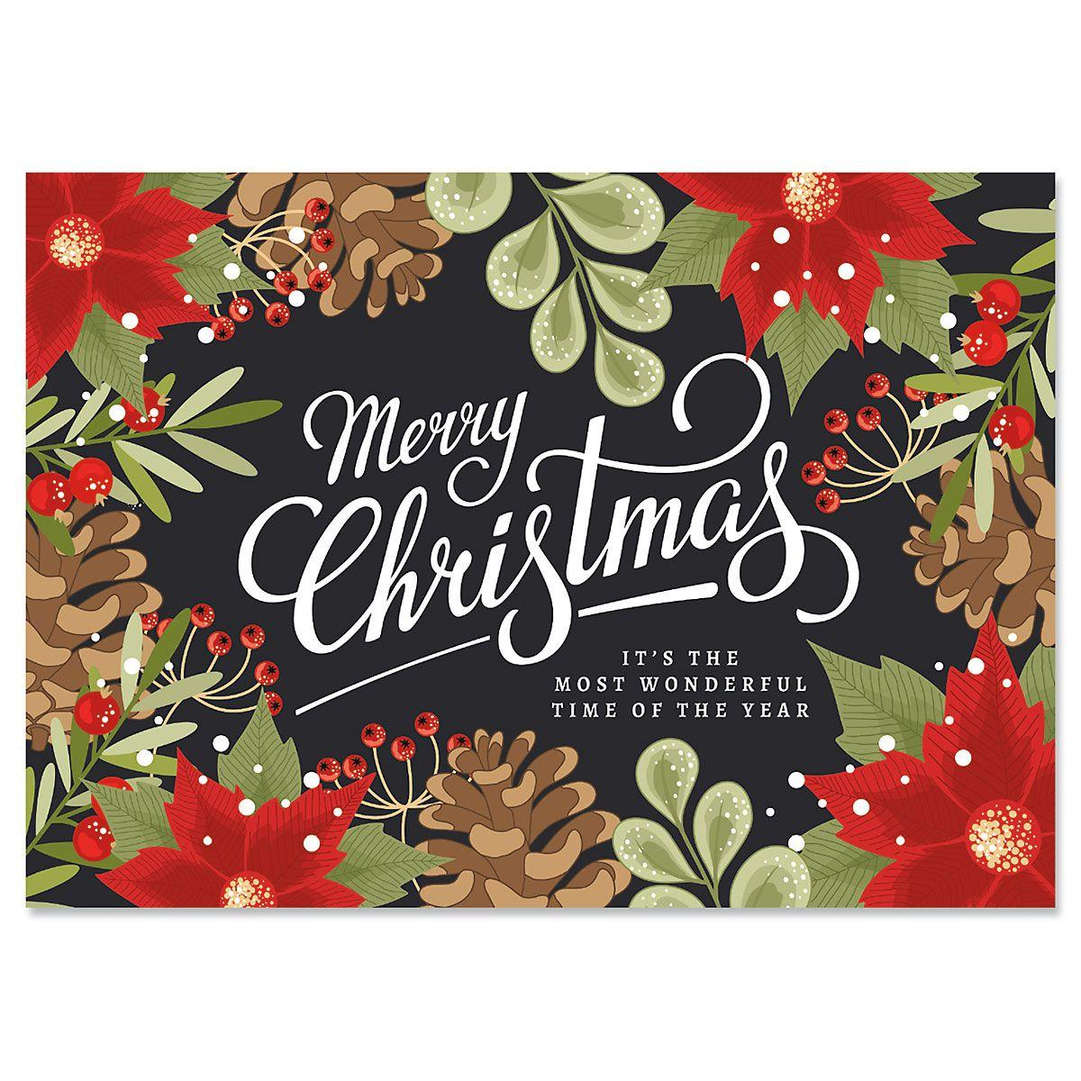 Poinsettia Border Christmas Cards