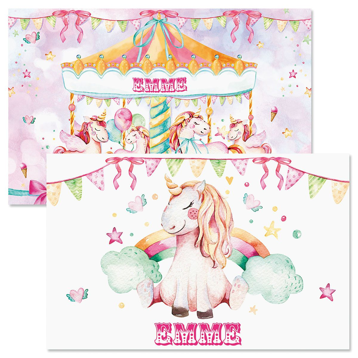 Unicorn Carousel Personalized Kids' Placemat