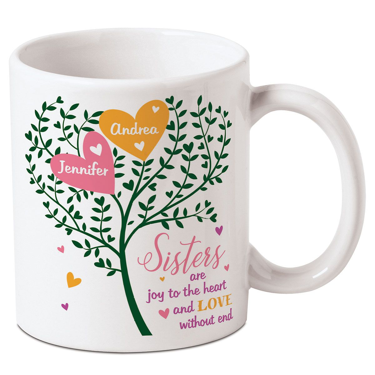 Joy to the Heart Personalized Sisters Mug