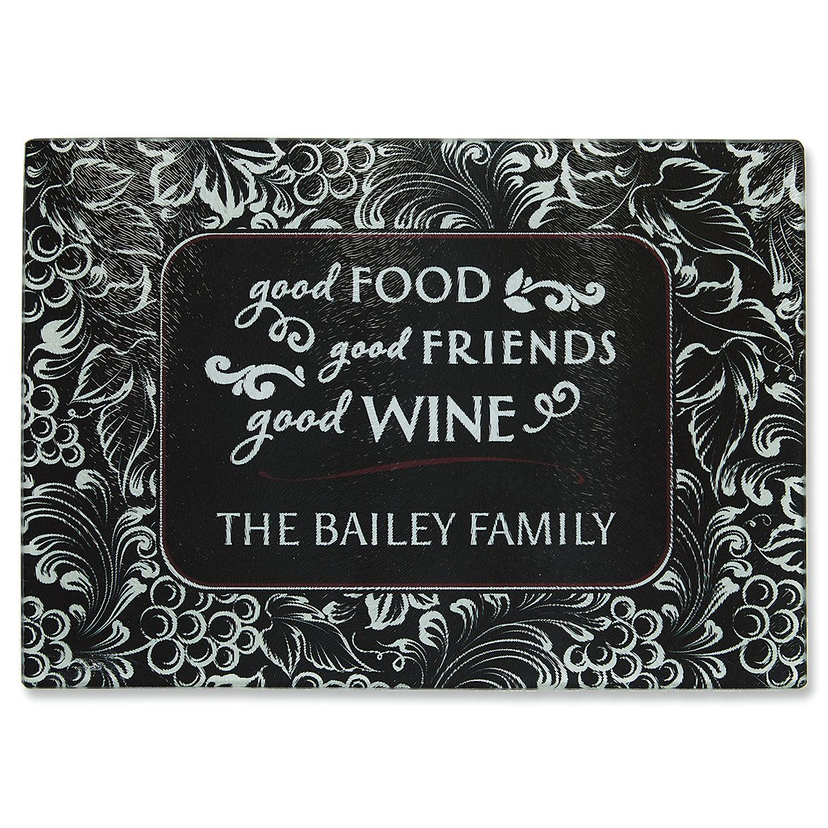Good Food, Wine, and Friends Tempered Glass Cutting Board