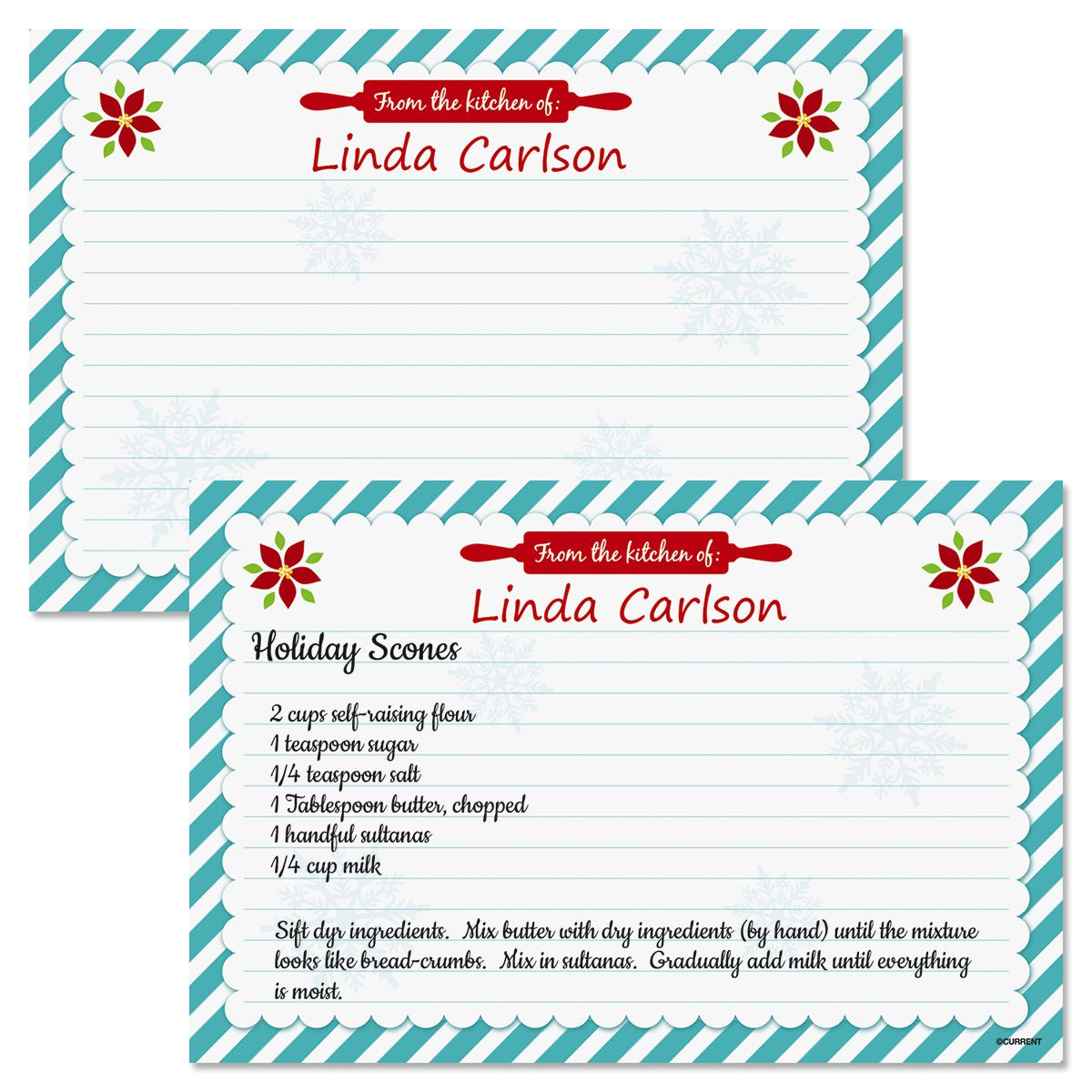 Christmas Kitchen Personalized Recipe Cards