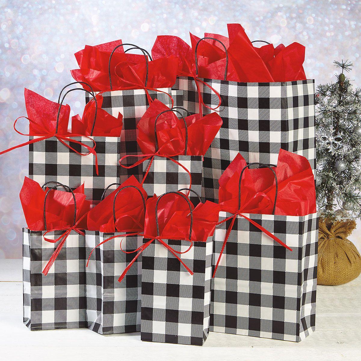 Black & White Plaid Gift Bag Value Pack