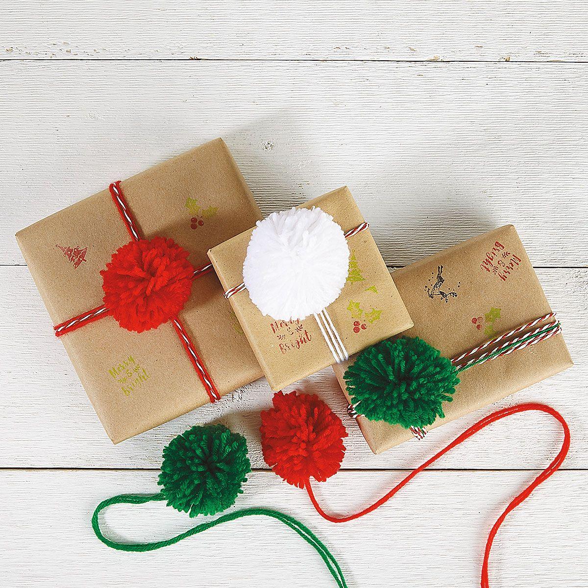 Christmas Pom-Pom Package Toppers