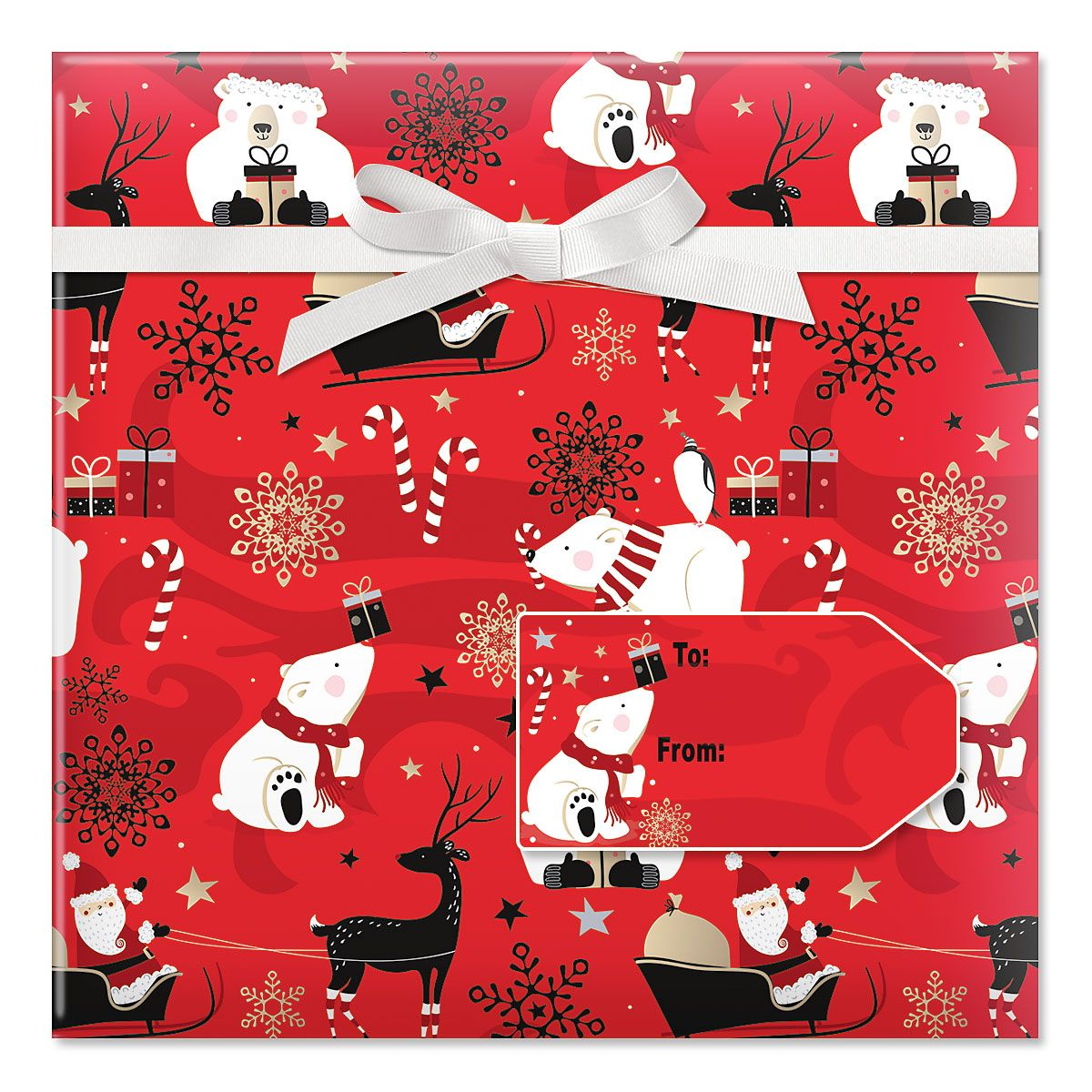 Holiday Cheer Jumbo Rolled Gift Wrap and Labels