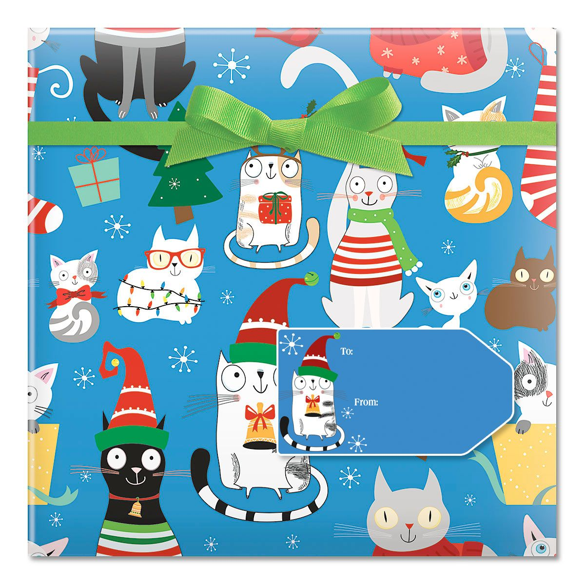 Christmas Cats Jumbo Rolled Gift Wrap and Labels