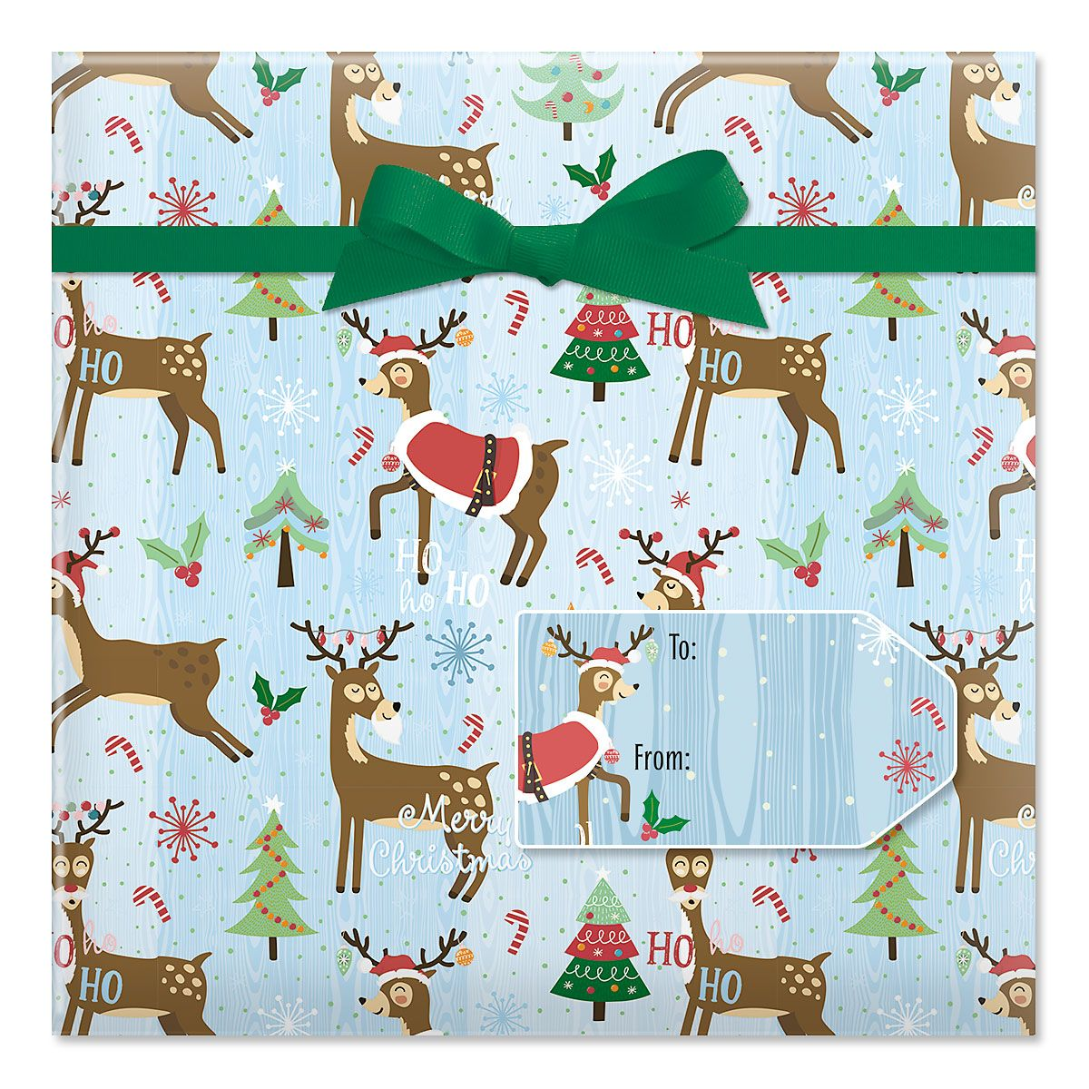 Playful Reindeer Jumbo Rolled Gift Wrap and Labels