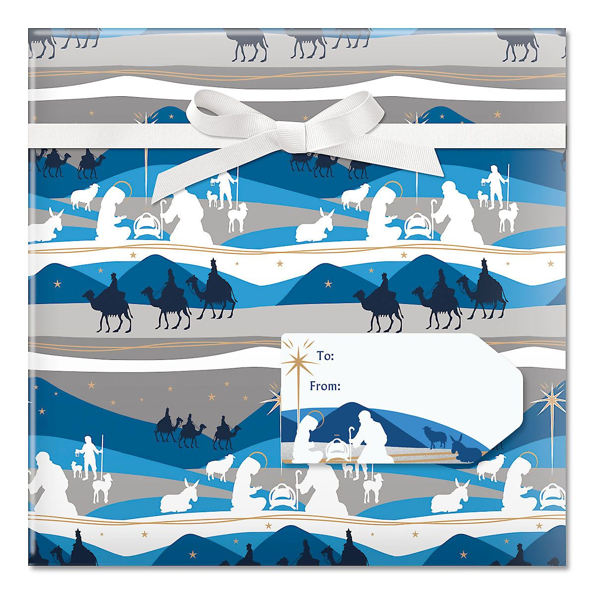 Blue Nativity Jumbo Rolled Gift Wrap and Labels