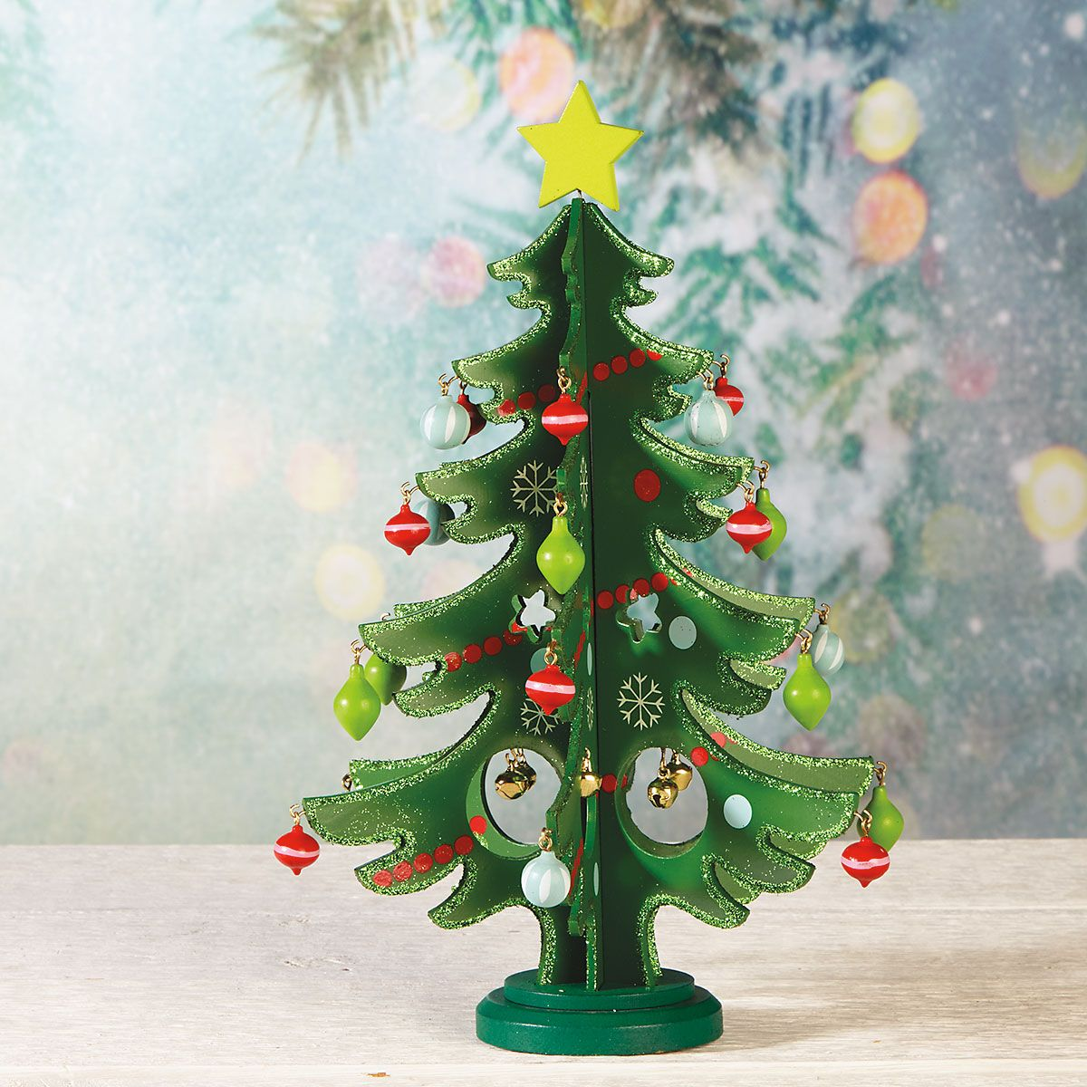Wooden Tabletop Christmas Tree with Ornaments