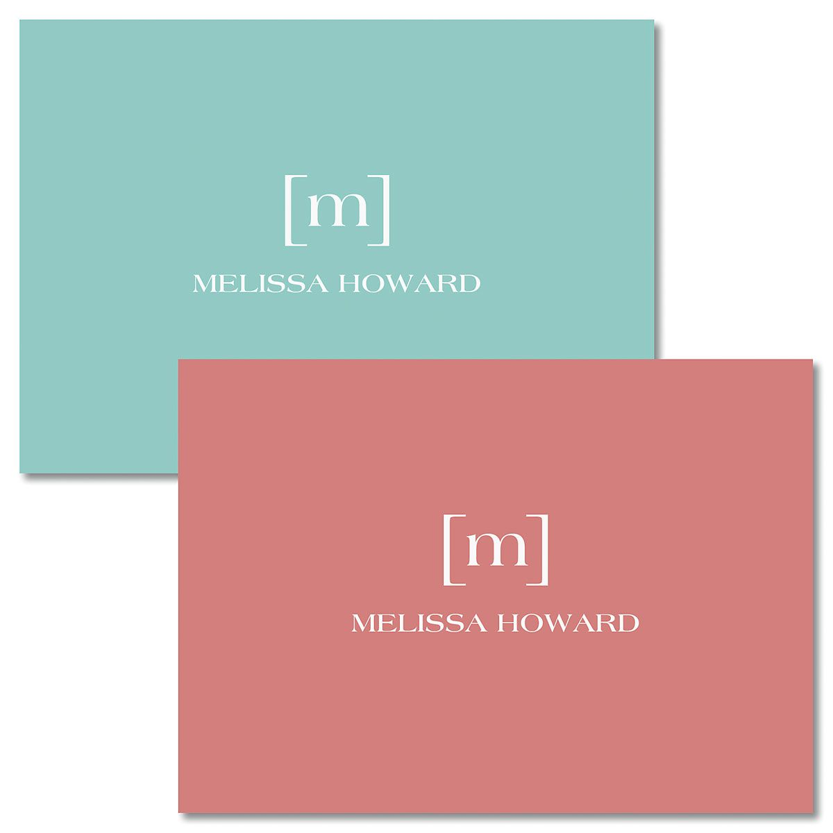 Bracket Monogram Personalized Note Cards