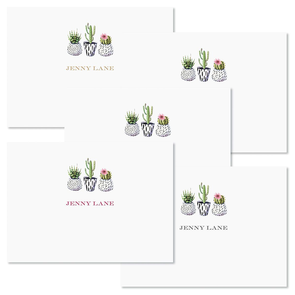 Mini Succulants Personalized Note Cards