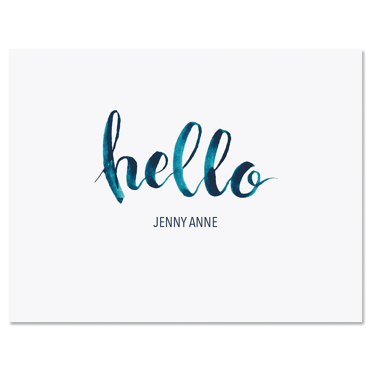 Watercolor Hello Personalized Note Cards