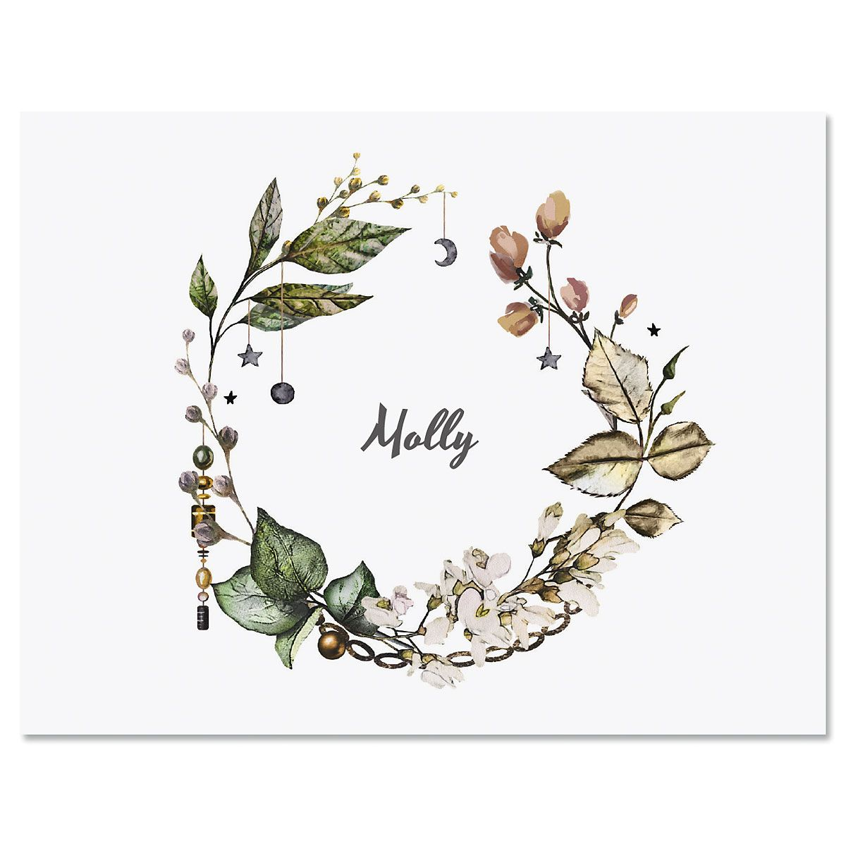 Whimsical Wreath Personalized Note Cards