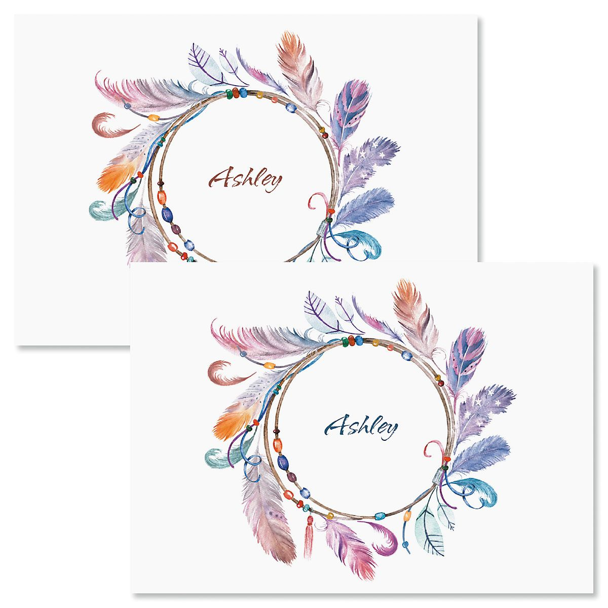 Sacred Watercolor Wreath Personalized Note Cards