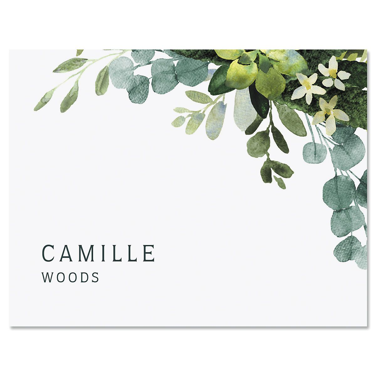 Olive Bloom Personalized Note Cards