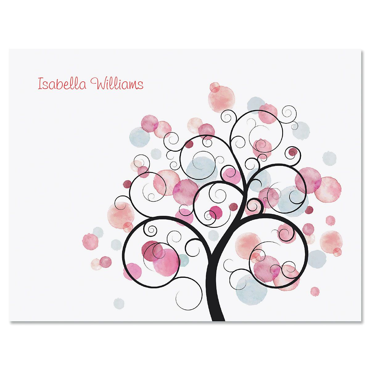 Watercolor Tree Personalized Note Cards