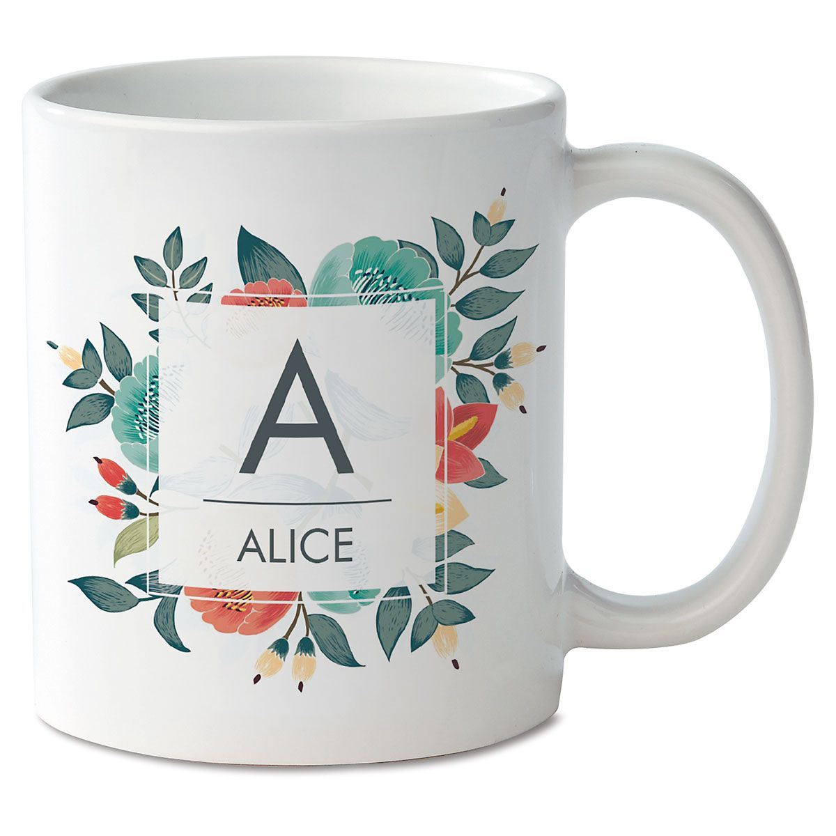 Floral Initial & Name Personalized Mug