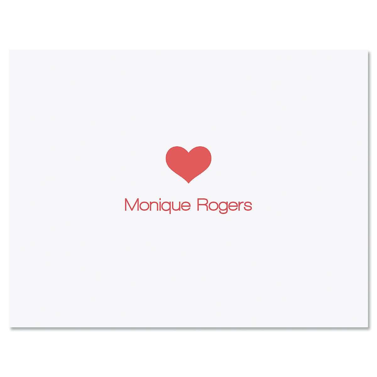 Center Heart Personalized Note Cards