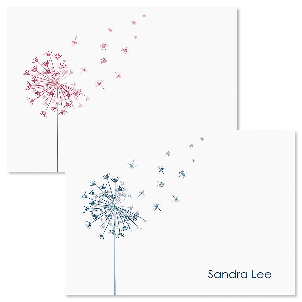 Wispy Dandelion Personalized Note Cards