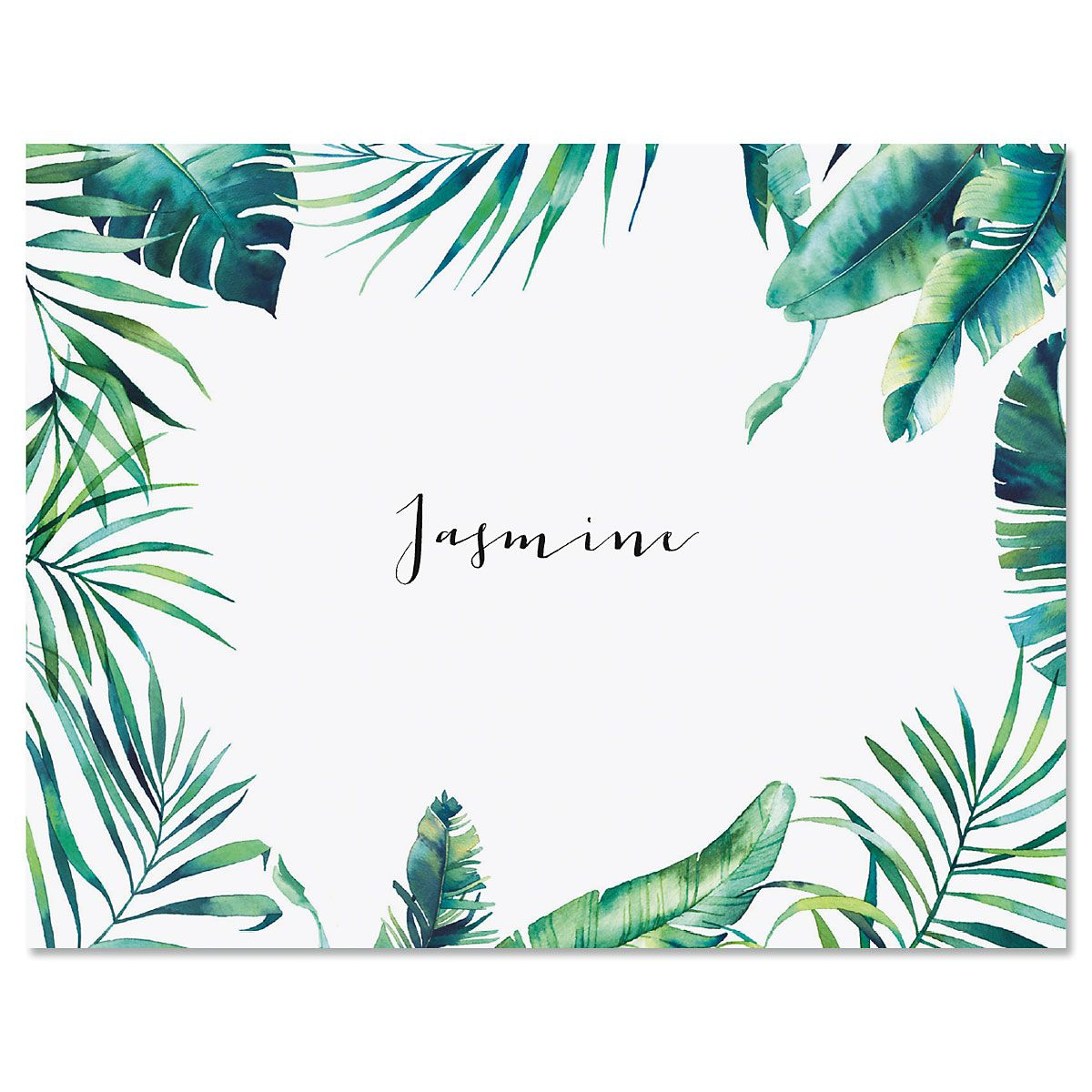 Leafy Greens Border Personalized Note Cards