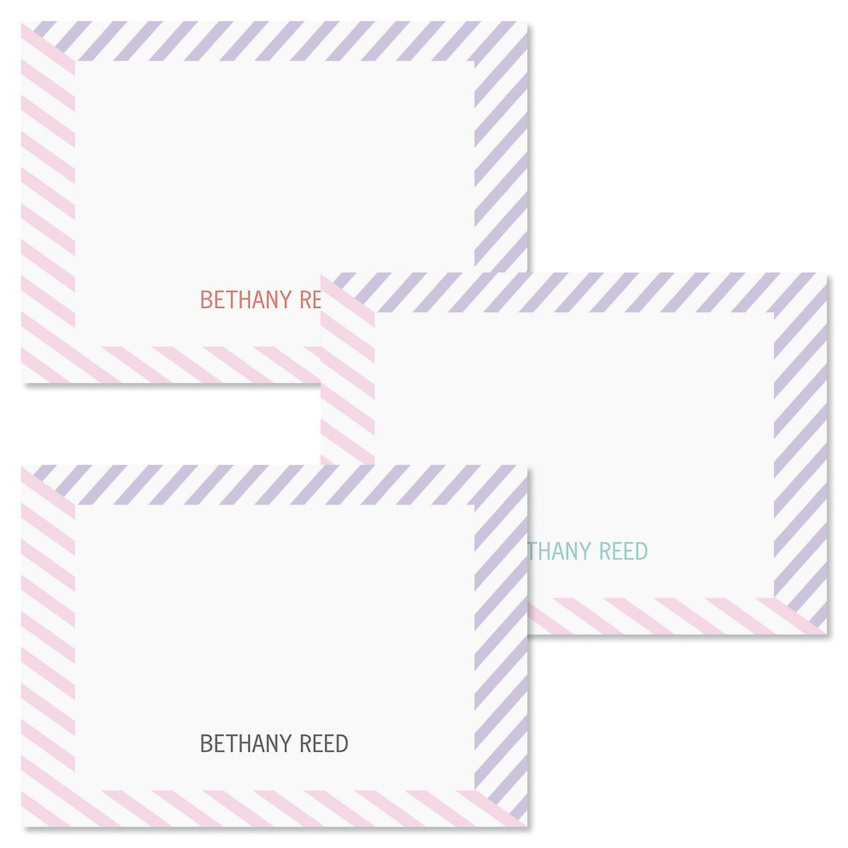 Pastel Lines Personalized Note Cards