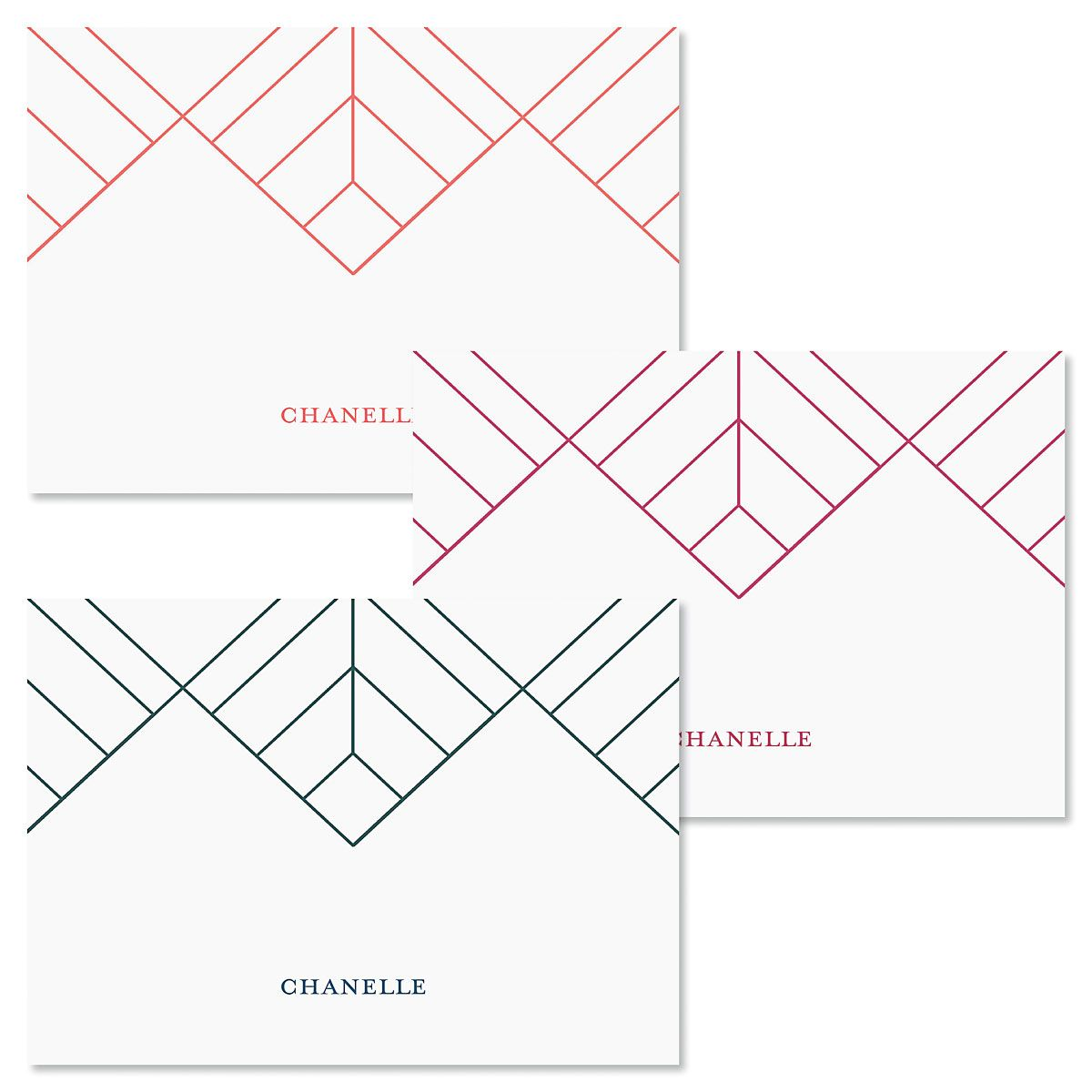 Diamond Lines Personalized Note Cards