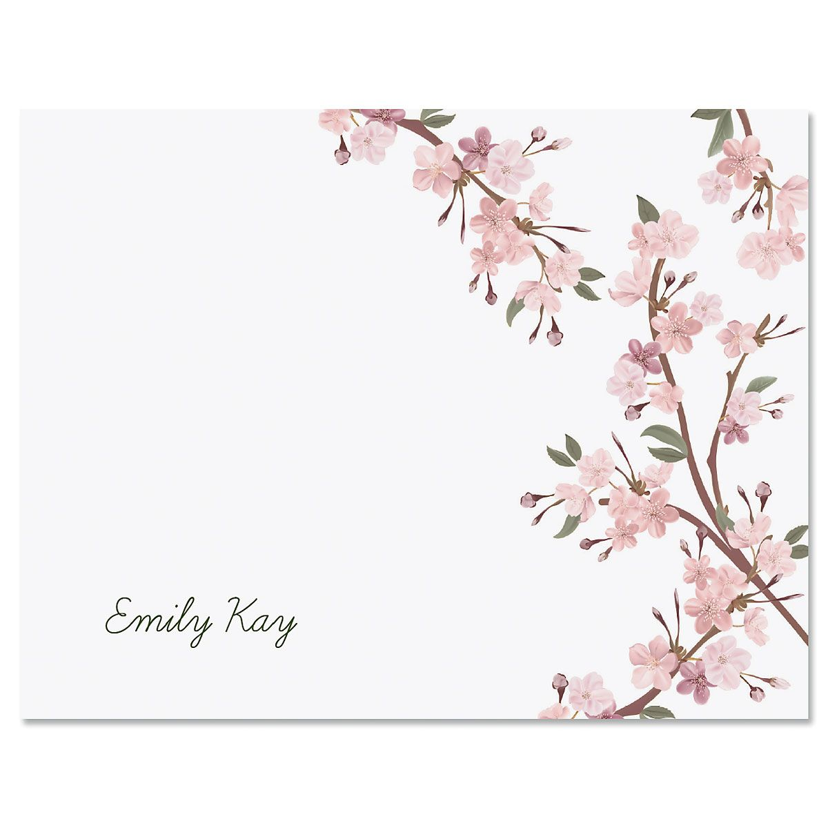 Cherry Blooms Personalized Note Cards