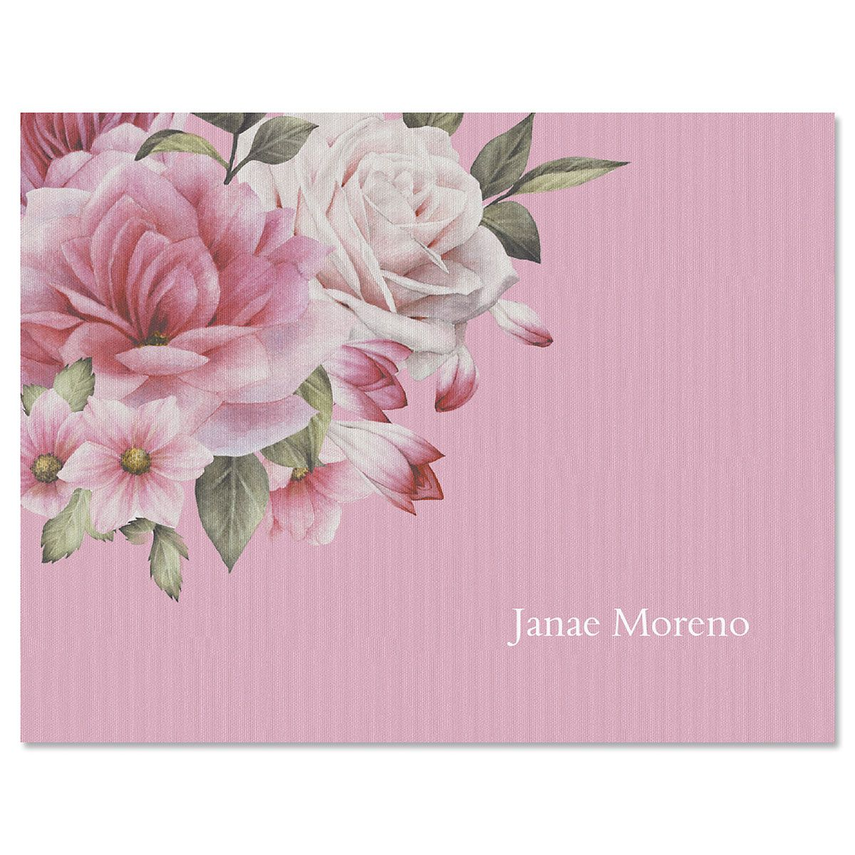 Corner Roses Personalized Note Cards