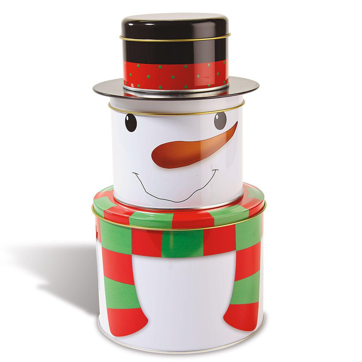 Snowman Christmas Stacking Tins
